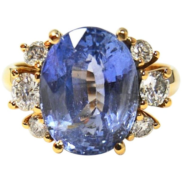 10.80 Carat Certified Untreated Blue Sapphire Diamond Ring 18K  For Sale