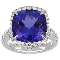 10.80 Carat Cushion Tanzanite Ring with Diamonds 18 Karat White Gold