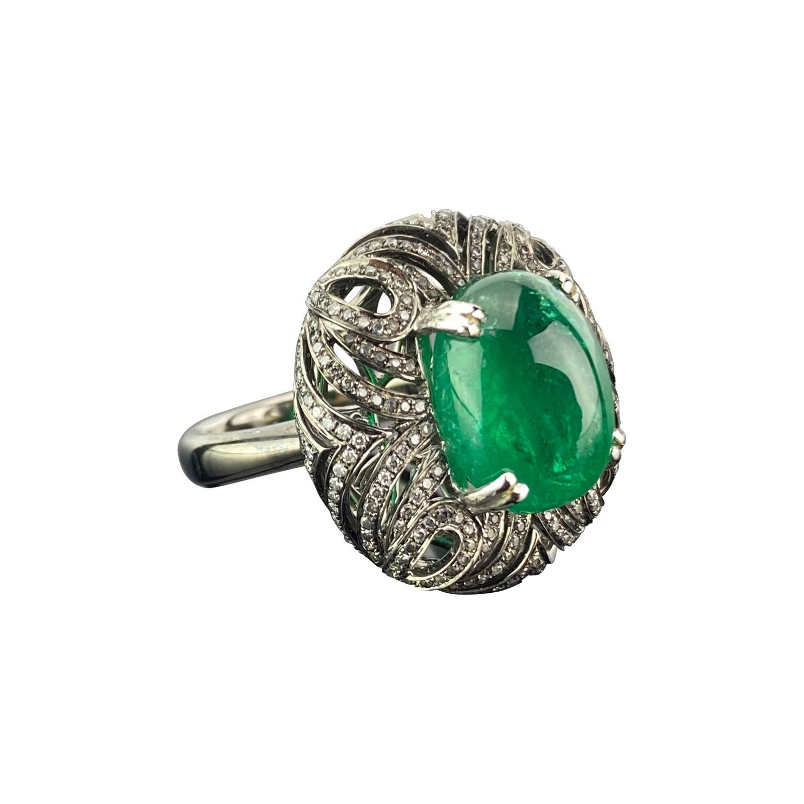 10.80 Carat Emerald Cabochon and Diamond 18K Gold Cocktail Ring
