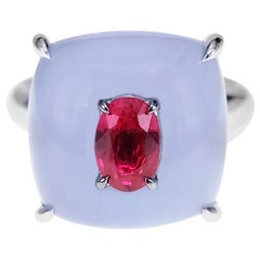 10.82 Carat Chalcedony and 0.78 Carat Ruby Crown Head Turner Ring