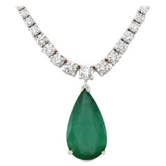 10.83 Carat Emerald 18 Karat White Gold Diamond Necklace