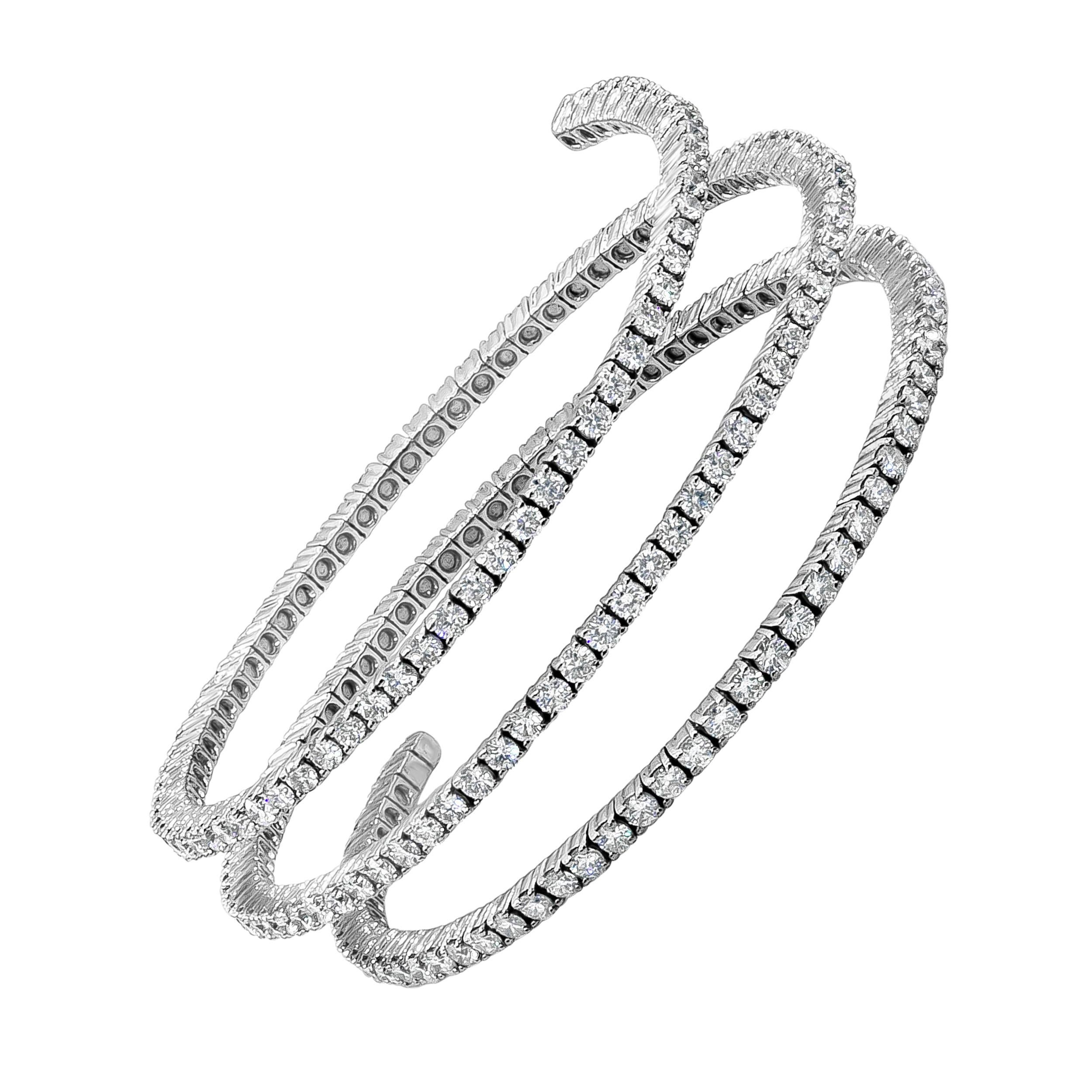 Roman Malakov 10.83 Carat Round Diamond Three-Row Spiral Bangle Bracelet
