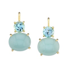 10.85 Carat Aquamarine 18 Karat Yellow Gold Earrings