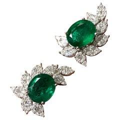 10.85 Carat Emerald and Diamond Stud Earrings