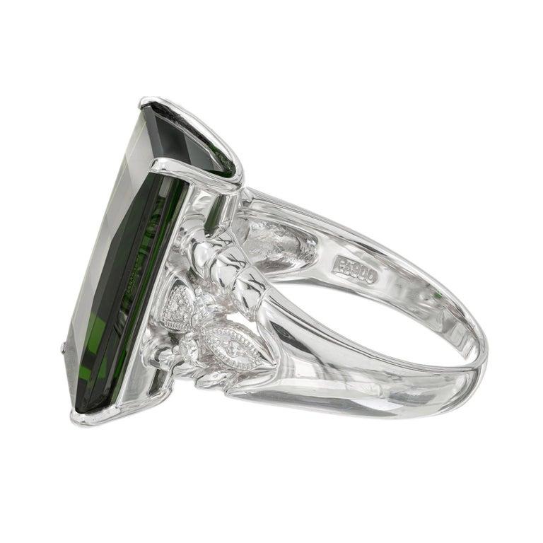 Round Cut 10.85 Carat Tourmaline Diamond Platinum Cocktail Ring For Sale