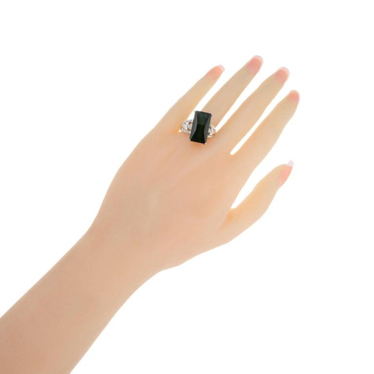 10.85 Carat Tourmaline Diamond Platinum Cocktail Ring For Sale 1