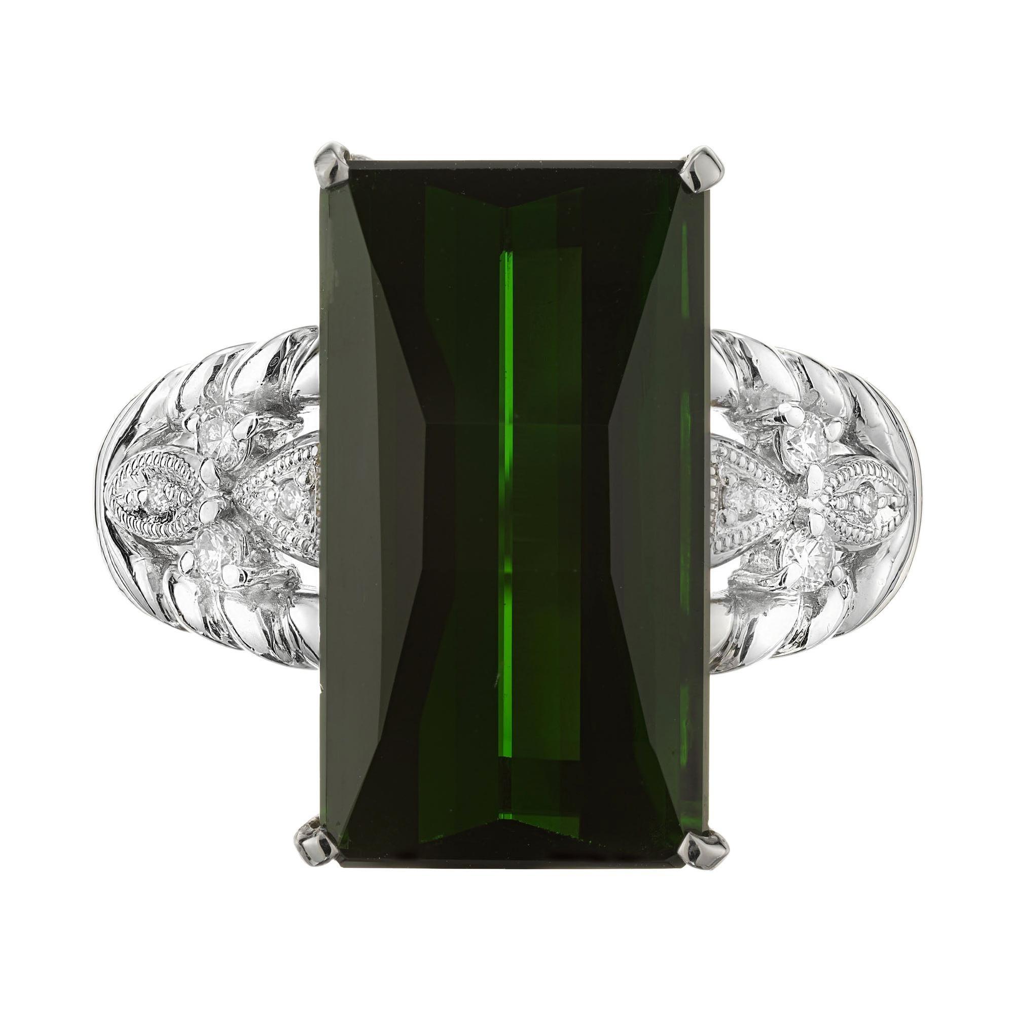 10.85 Carat Tourmaline Diamond Platinum Cocktail Ring