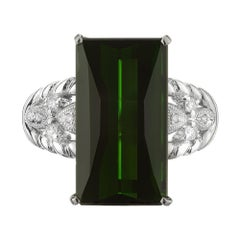 10.85 Carat Tourmaline Diamond Platinum Cocktail Ring