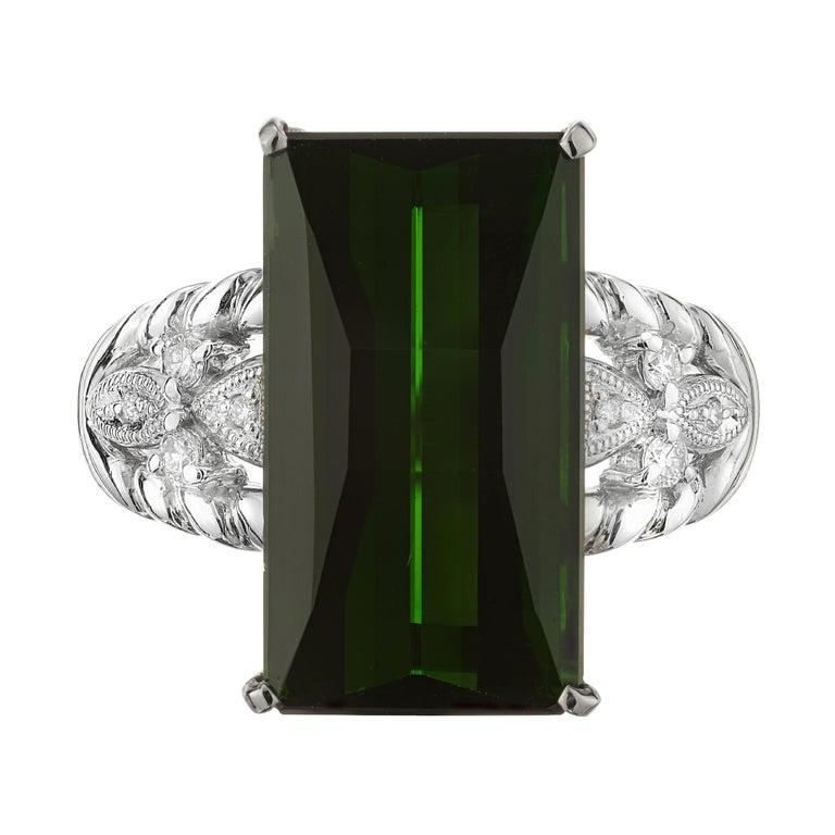 10.85 Carat Tourmaline Diamond Platinum Cocktail Ring For Sale