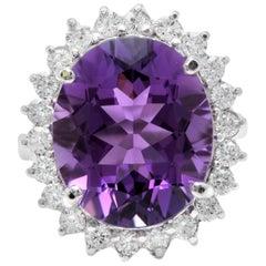 10.85 Carat Natural Amethyst and Diamond 18 Karat Solid White Gold Ring