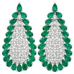 10.86 Carat Emerald Diamond 18 Karat White Gold Earrings