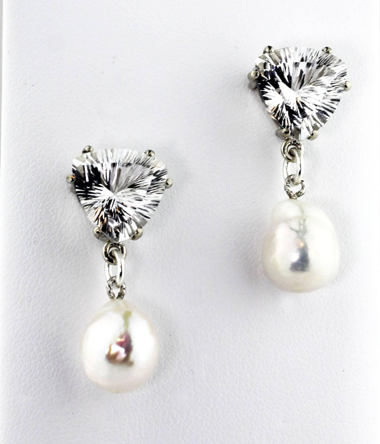 Trillion Cut Unique 10.86 Carats White Quartz and Pearl Sterling Silver Stud Earrings For Sale