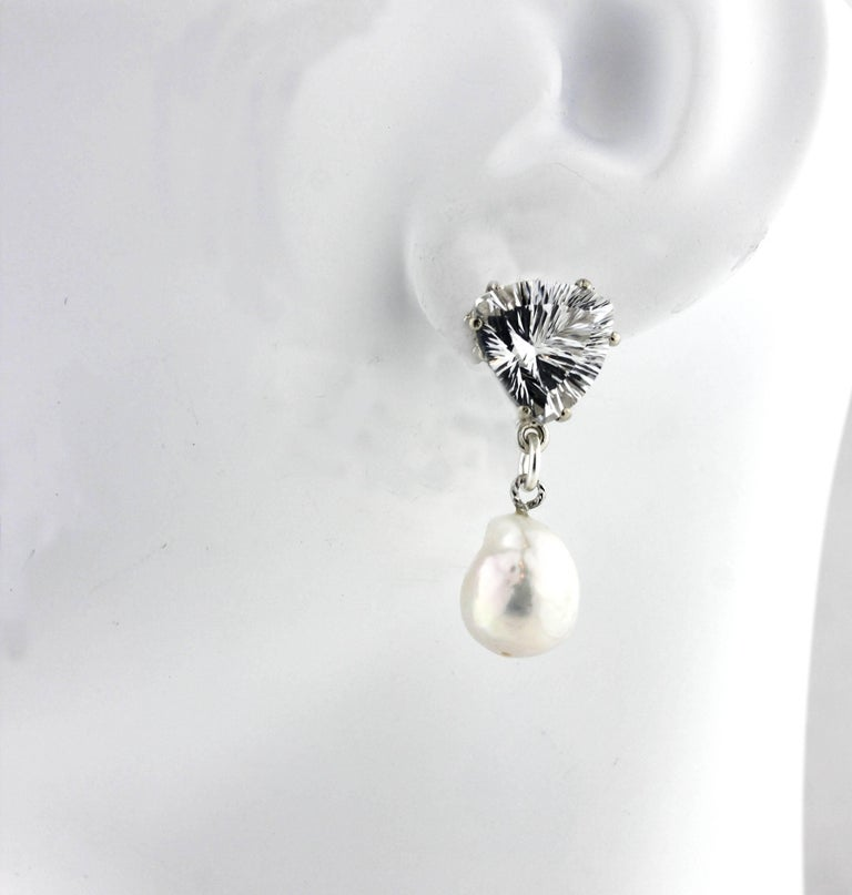 10.86 Carats White Quartz and Pearl Sterling Silver Stud Earrings In Excellent Condition For Sale In Tuxedo Park, NY