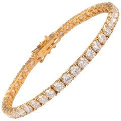 Alexander 10.87 Carat Diamond Tennis Bracelet 18 Karat Yellow Gold