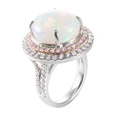 10.87 Carat Round Opal Pink White Diamond 18 Karat Rose White Gold Cocktail Ring