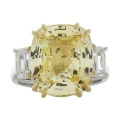 10.89 Carat Cushion Cut Yellow Sapphire & Diamond Ring in 18k Gold