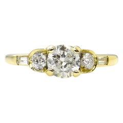 1.08 Carat Five-Stone Diamond Wedding Engagement 18 Karat Yellow Gold Ring
