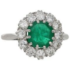 1.09 Carat Emerald and 1.20 Carat Diamond Cluster Ring in Platinum