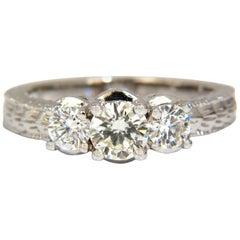 1.09 Carat Natural Round Brilliant Diamond Ring Classic Three Engagement