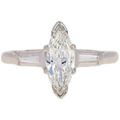 1.09 Carat Old Marquise Cut Diamond Retro Ring, 900 Platinum GIA Vintage