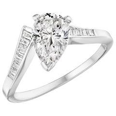 1.09 Carat Pear Diamond Ring with Baguette Side Diamonds in 14 Karat White Gold