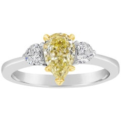 1.09 Carat Pear Shape Yellow Diamond Three-Stone Engagement Ring
