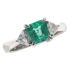 1.09 Carat Natural Square-Cut Emerald Three-Stone Ring, Platinum