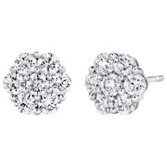 Diamond Cluster Floral Design, White Gold Stud Post Earrings, 1.09 ct. t.w.