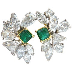 10.90 Carat Natural Emerald Diamond Crescent Cocktail Earrings Glamour Prime
