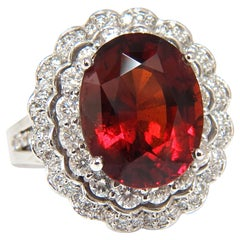 10.90 Carat Natural Hessonite Garnet Diamonds Ring 14 Karat Double Halo