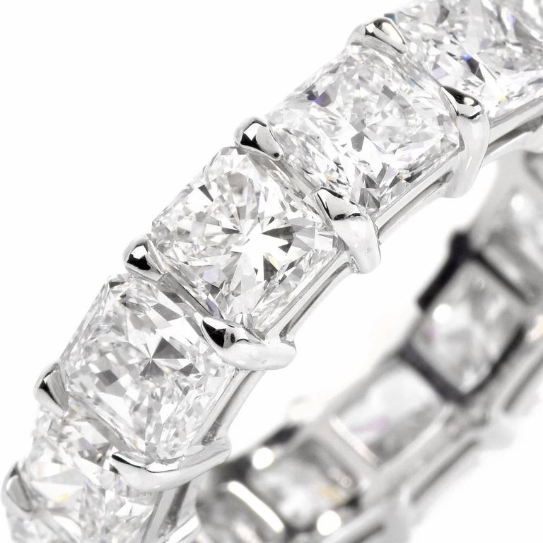10.90 Carat Cushion Diamond Platinum Eternity Band Ring In New Condition For Sale In Miami, FL