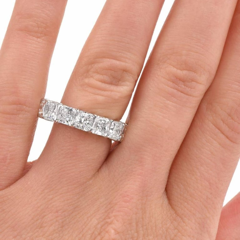Women's 10.90 Carat Cushion Diamond Platinum Eternity Band Ring For Sale