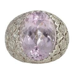 10.91 Carat Kunzite Ring with Diamonds