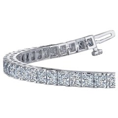 10.91 Carat Total White Diamond Tennis Bracelet in 14 Karat White Gold