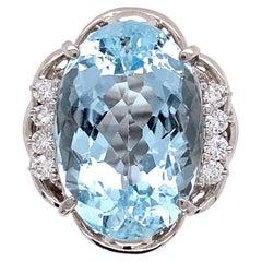 10.92 Carat Aquamarine and Diamond Platinum Cocktail Ring Estate Fine Jewelry