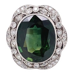 10.92 Carat Sapphire Diamond Art Deco Style Platinum Ring Estate Fine Jewelry