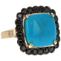 10.94 Carat Turquoise Black Diamond 14 Karat Yellow Gold Cocktail Ring