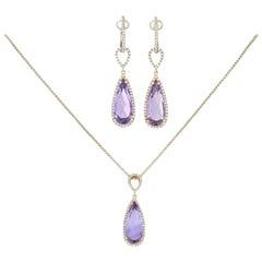 10.94ctw Pear Cut Amethyst & Diamond Earrings & Pendant Necklace 14k Gold Halo