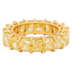 10.95 Carat Fancy Yellow Radiant Cut Diamond Eternity Band Ring