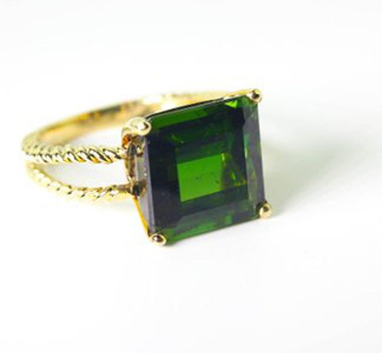 Emerald Cut Gemjunky Translucent 10.96 Cts Glittering Green Tourmaline 14Kt Yellow Gold Ring For Sale