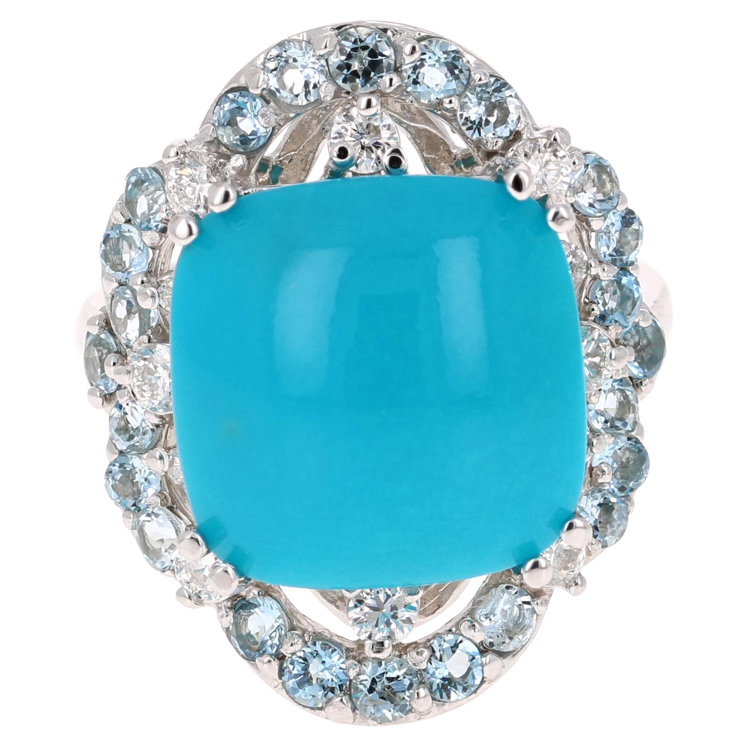 10.96 Carat Turquoise Diamond 14 Karat White Gold Cocktail Ring