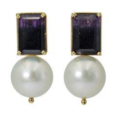 10.97 Carat Blue John Fluorite Freshwater Pearl Drop 14 Karat Gold Stud Earrings
