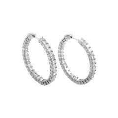 10.97 Carat Platinum and Diamond Hoop Earrings