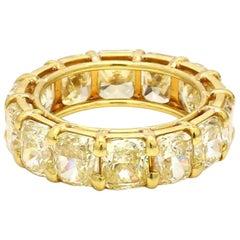 10.98 Carat Fancy Yellow, Cushion Cut Diamond Eternity Band Ring