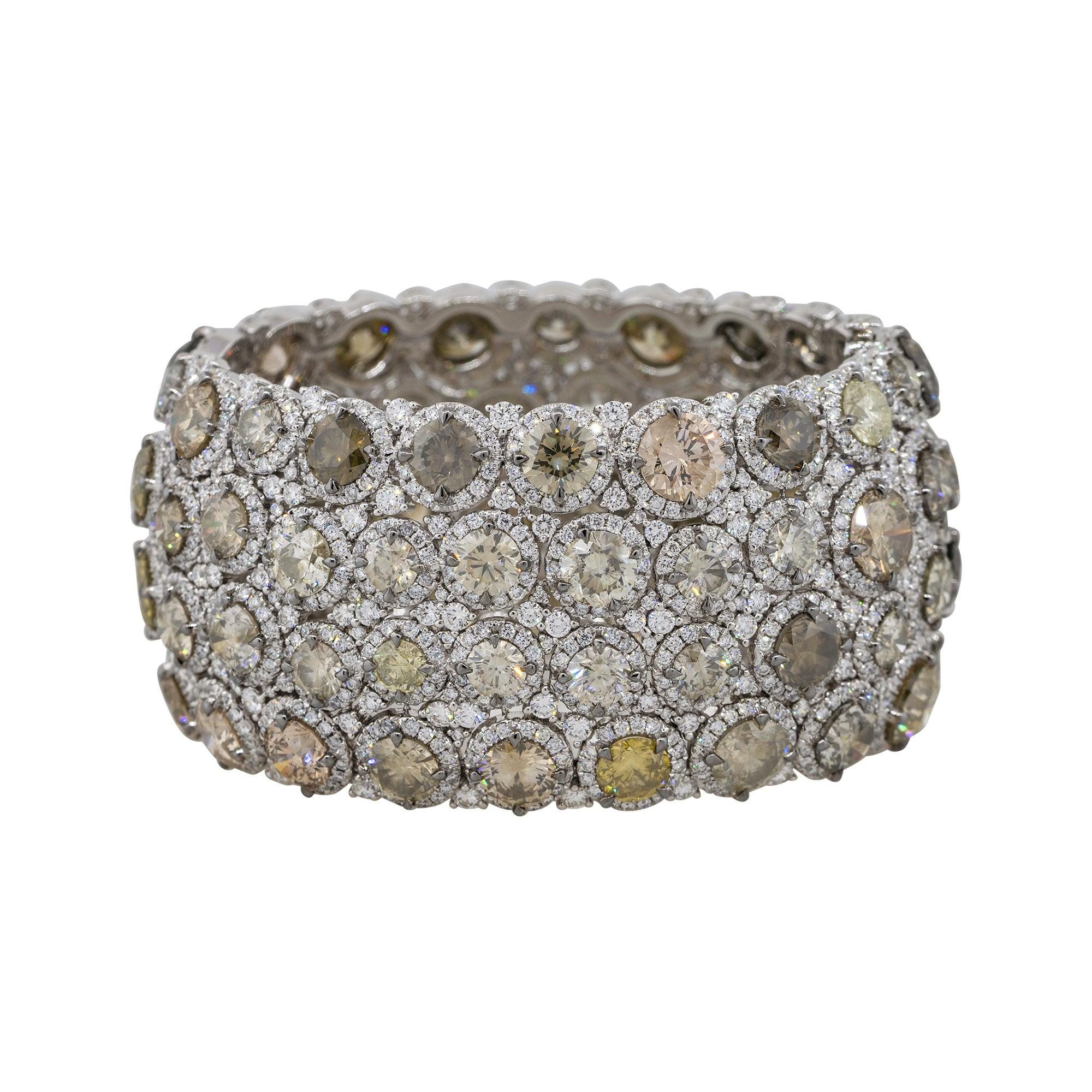 109.83 Carat Multi Diamond Cluster Pave Bangle Bracelet 18 Karat in Stock