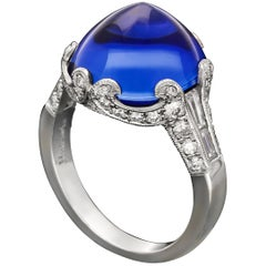 10.99ct Stunning Burmese Sugarloaf Cabochon Sapphire & Diamond Ring by Hancocks