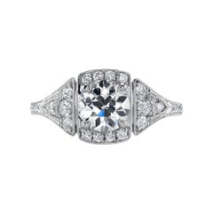 1.09ct GIA Certified Old European Cut Diamond Set in a Handcrafted Platinum Ring