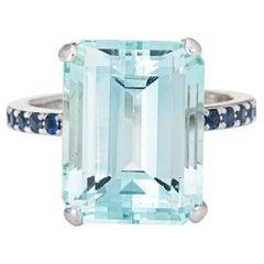 10ct Aquamarine Sapphire Ring Vintage 14k White Gold Gemstone Engagement