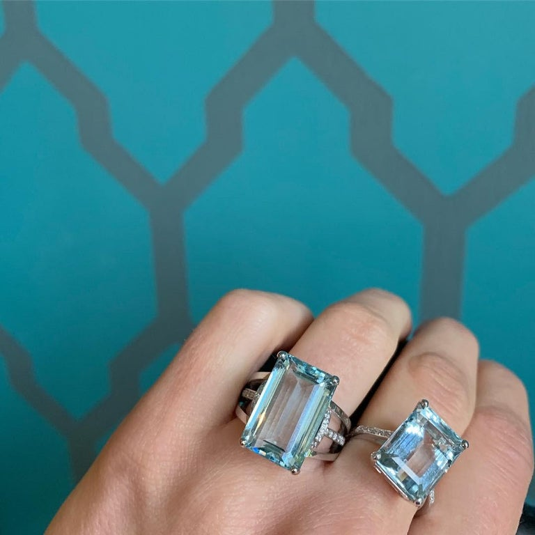 An impressive 10ct Aquamarine is at the centre of this beautiful piece handcrafted in our Italian workshop by a fifth generation goldsmith. Simply pop it on and imagine yourself sitting back in a cafe in Florence having aperitivo.  We are able to