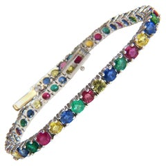 10ct natural ruby emerald sapphires diamond tennis bracelet 14kt gem line